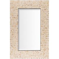 """36"""" Ivory and Tan Mother of Pearl Framed Beveled Rectangular Wall Mirror - Off-White"""