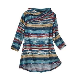 Women's Tunic Top - Soft Knit Drape-Neckline Variegated Stripe Shirt