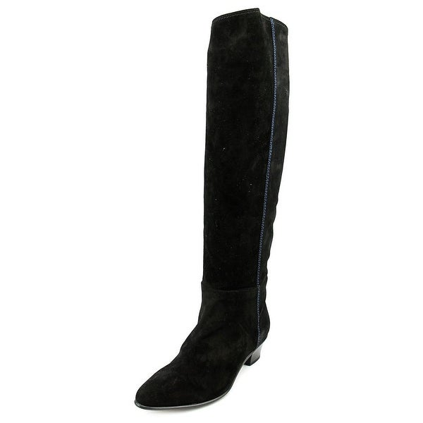 Costume National Stivale Women Round Toe Suede Black Knee High Boot