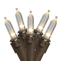 """Set of 50 Warm White LED Mini Christmas Lights 4"""" Spacing - Brown Wire - CLEAR"""