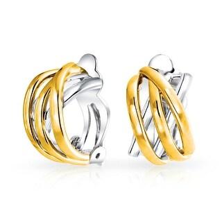 Two Tone Open Criss Cross Celtic Knot Weave Wide Half Hoop Clip On Earrings Non Pierced Ears Silver 14K Gold Plate Brass
