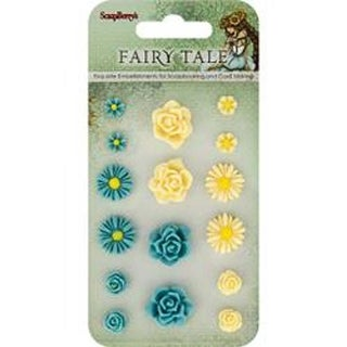 #1 Blue & Yellow/8 Each - Scrapberry's Fairy Tale Resin Flower Embellishments