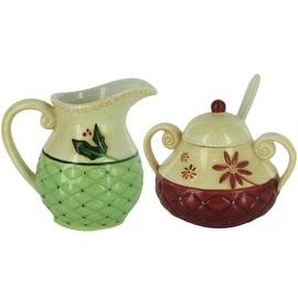 Christmas Traditions Ceramic Creamer & Sugar Bowl