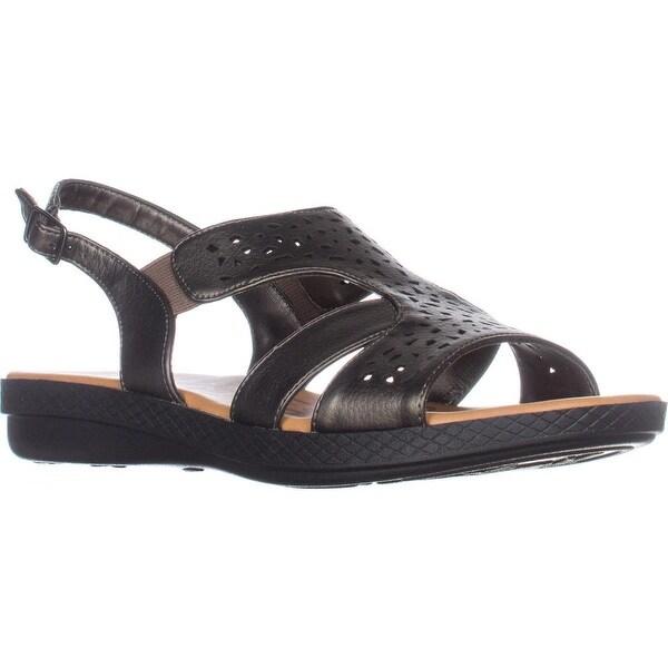 Easy Street Bolt Flat Slingback Sandals, Pewter - 8.5 us