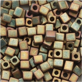 Miyuki 4mm Glass Cube Beads 'Matte Metallic Khaki Iris' 2035 10 Grams