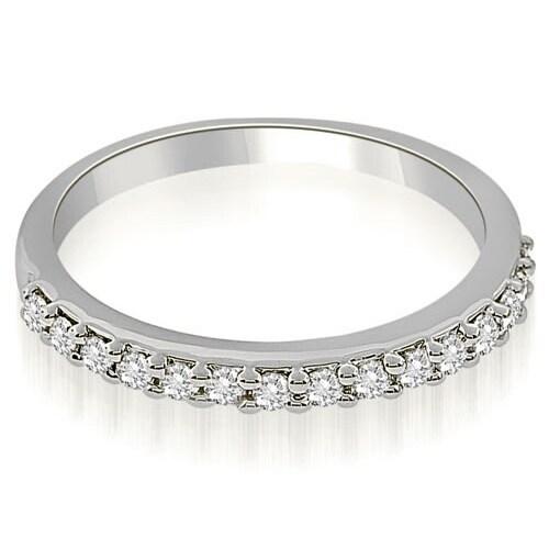 0.30 cttw. 14K White Gold Classic Round Cut Diamond Wedding Band