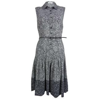 Calvin Klein Women's Belted Sleeveless A-Line Button Dress