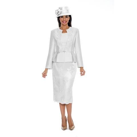 Giovanna Collection Women's Soutache Embellished Peplum 3-Pc Skirt Suit