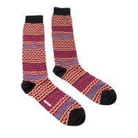 Missoni GM00CMU5238 0002 Hot Pink/Tan Mixed Stripe Knee Length Socks - M