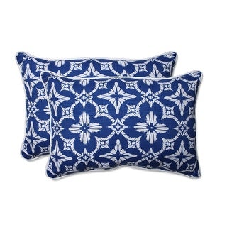 Set of Two Ultra Blue and Cotton White Ikat Printed Rectangular Throw Pillow 25""