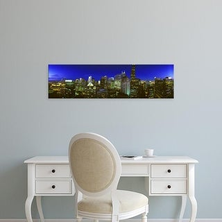 Easy Art Prints Panoramic Images's 'Evening Chicago Illinois' Premium Canvas Art