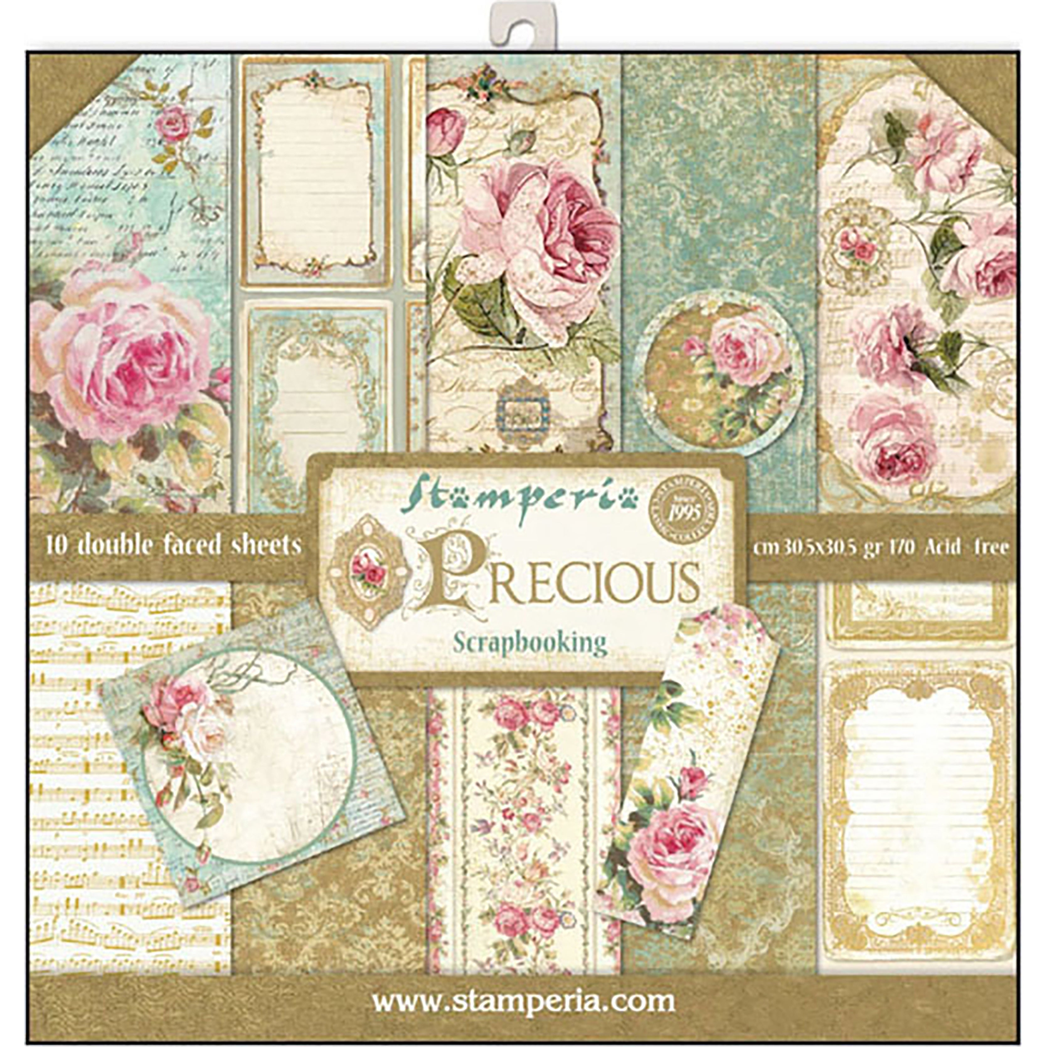 10 Designs//1 Each Stamperia Double-Sided Paper Pad 12X12 10//Pkg-Shabby Rose
