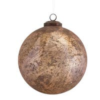 "Set of 6 Metallic Rose Gold Distressed Glass Decorative Christmas Ball Ornaments 5"" - Copper"