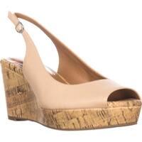 SC35 Sondire Wedge Slingback Sandals, Nude