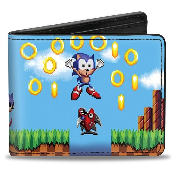 Sonic Classic Sonic Pixelated Run Game Over Fall Scene2 Bi Fold Wallet - One Size Fits most