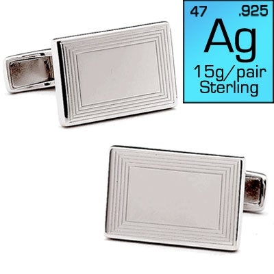 Etched Rectangular Engravable Cufflinks