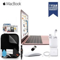 "Apple 12"" MacBook Rose Gold MMGM2LL/A Retina Display 512GB With Case, Magic Mouse 2 and Air Pods - Executive Bundle"