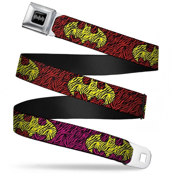 Batman Black Silver Zebra Bat Signal Black Fluorescent Hot Pink Red Webbing Seatbelt Belt