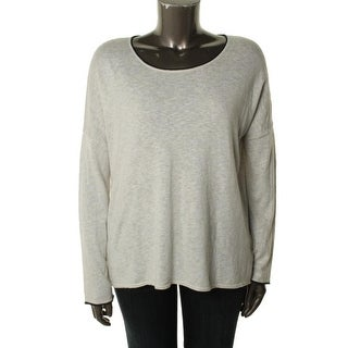Vince Womens Heathered Contrast Trim Tunic Sweater - M