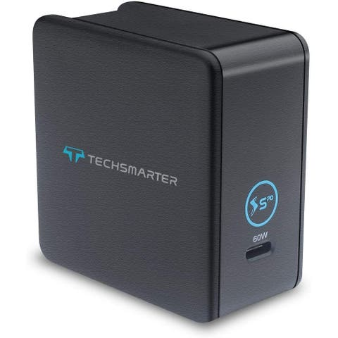 Techsmarter 60W USB-C PD Wall Charger, Compatible with iPhones, Samsung Galaxies, Android, iPad Air/Pro, MacBook Air/Pro