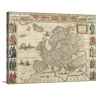 """Map of Europe"" Canvas Wall Art"
