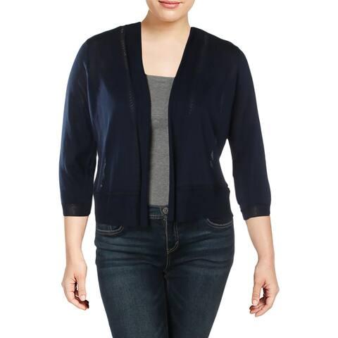 Anne Klein Womens Shrug Sweater Ribbed Trim Three-Quarter Sleeves