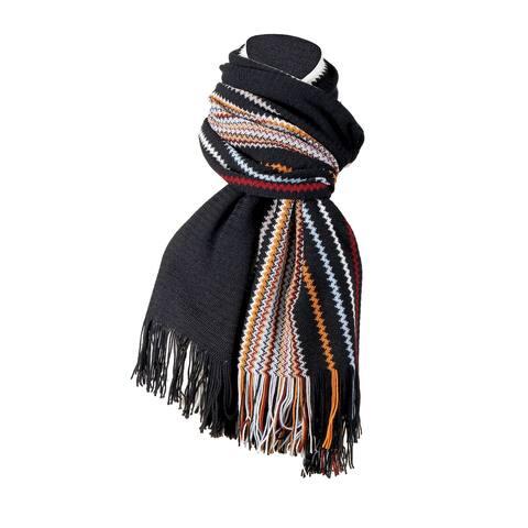 Missoni Black Crochet Knit Oversized Zigzag Fringe Scarf - 20-84-