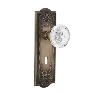 Nostalgic Warehouse MEACME_DD_KH  Vintage Crystal Meadows Dummy Door Knob Set with Meadows Rose and Decorative Keyhole