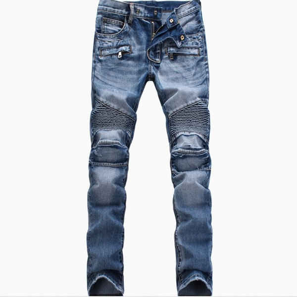 Men Ripped Slim Straight Fit Biker Jeans With Zipper Deco. Opens flyout.