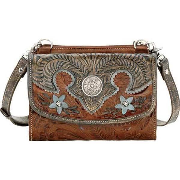 American West Women S Desert Wildflower Small Cross Body Bag Wallet Antique Brown Distressedcharcoal Sky Blue