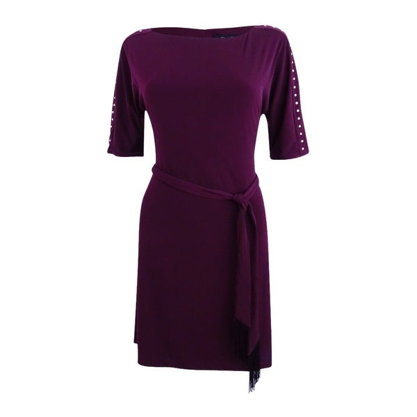 Jessica Simpson Women's Tie Waist Fit And Flare Dress - Wine