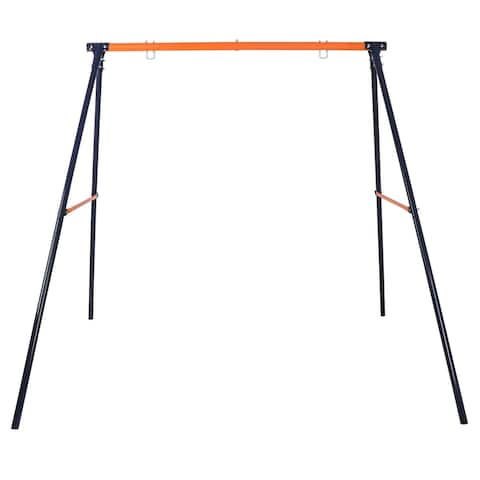 220 LBs Powder-Coated Steel Swing Set Frame Stand Weatherproof MAX Kids & Adults - 87 x 64 x 71 inches