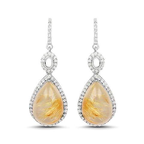 10.00 Carat Genuine Golden Rutile And White Topaz .925 Sterling Silver Earrings