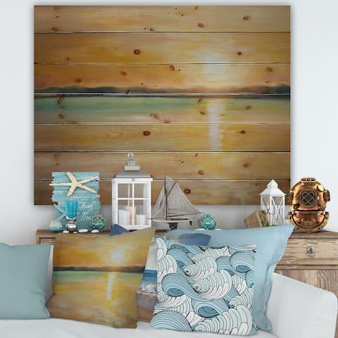 Designart 'Yellow Sunset At The Horizon' Nautical & Coastal Print on Natural Pine Wood