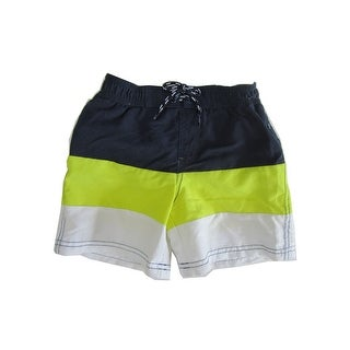 Jake Austin Boys Navy Blue Yellow White Stripe Swimwear Shorts