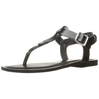 Madden Girl Womens Matcha Leather Open Toe Casual T-Strap Sandals