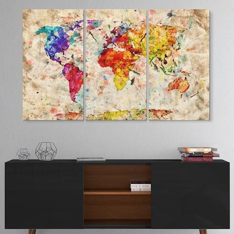 Vintage World Map Watercolor - Maps Glossy Metal Wall Art