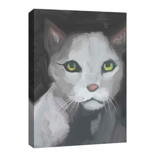 """PTM Images 9-126720  PTM Canvas Collection 8"""" x 10"""" - """"White Cat"""" Giclee Cats Art Print on Canvas"""