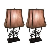 Set of 2 Matte Black Metal Scrollwork Table Lamps with Decorative Fabric Shade