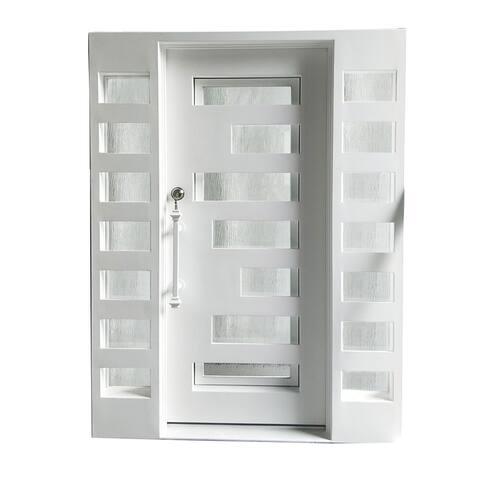 ALEKO Iron Square Top Geometric-Embossed Door 62 x 81 Inches White
