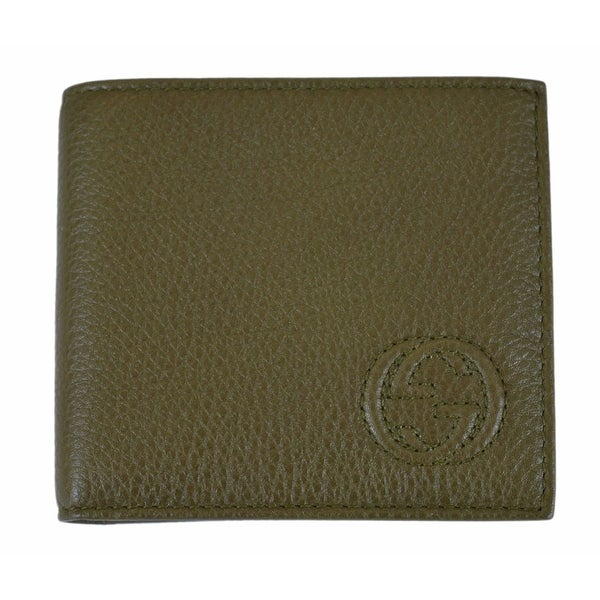Gucci Men's 322115 Olive Green Pebbled Leather Interlocking GG Bifold Wallet