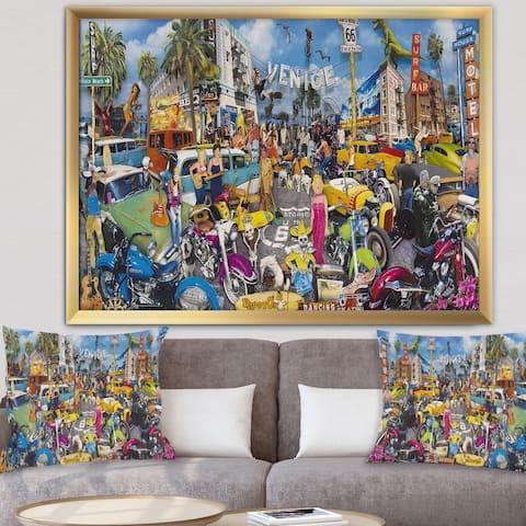 Designart 'Venice Beach Roadside Collage' Modern & Contemporary Framed Art Print