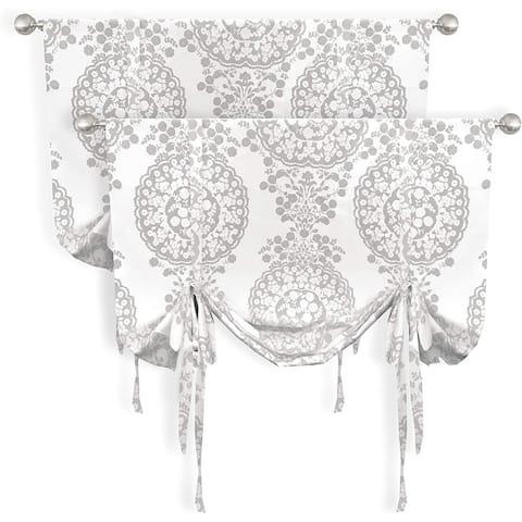 DriftAway Samantha Floral Damask Pattern Tie Up Curtain Set of 2