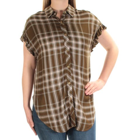 BUFFALO Womens Green Plaid Short Sleeve Collared Button Up Top Size: M