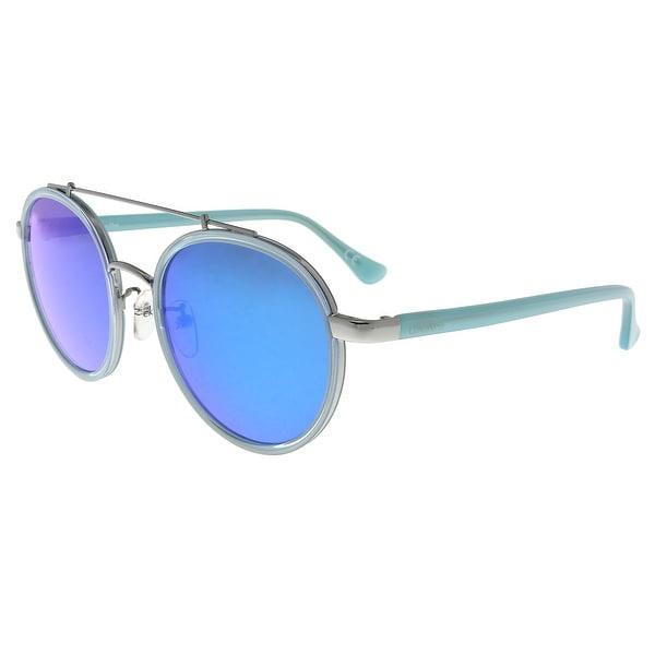 805de687156c Shop Calvin Klein CK1225S 424 Blue Round Sunglasses - 55-20-140 ...