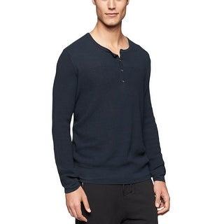 Calvin Klein CK Henley Style Sweater X-Large Carbon Blue Lightweight - XL