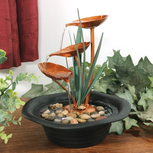 Sunnydaze Three Leaf Cascading Tabletop Water Fountain 10 Inch Tall