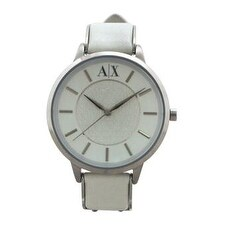 Armani Exchange Ax5300 Stainless Steel And White Leather Strap Watch Watch For Women