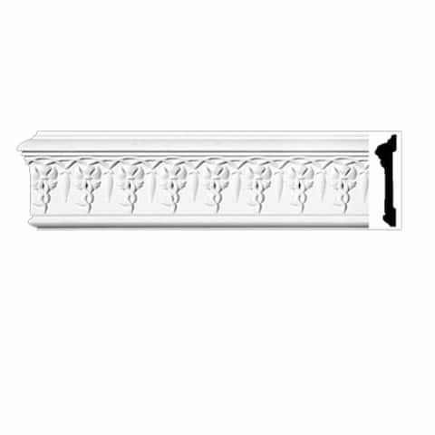 "Crown Molding White Urethane 4 5/8"" H Willoughby Ornate Renovator's Supply"