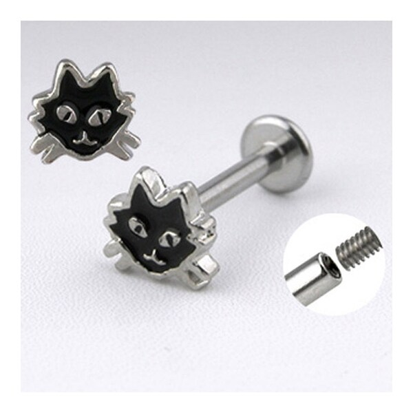 "Surgical Steel Labret with Black Cat - 14GA 3/8"" Long (Sold Ind.)"